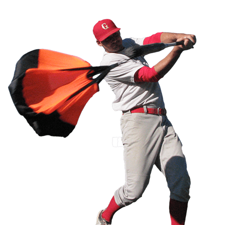 Baseball player using the baseball swing trainer chute by chute trainer.