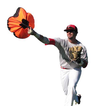Baseball player using the throwing chute by chute trainer.